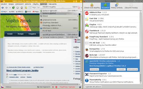 Mozilla Firefox a dialog správy doplňků